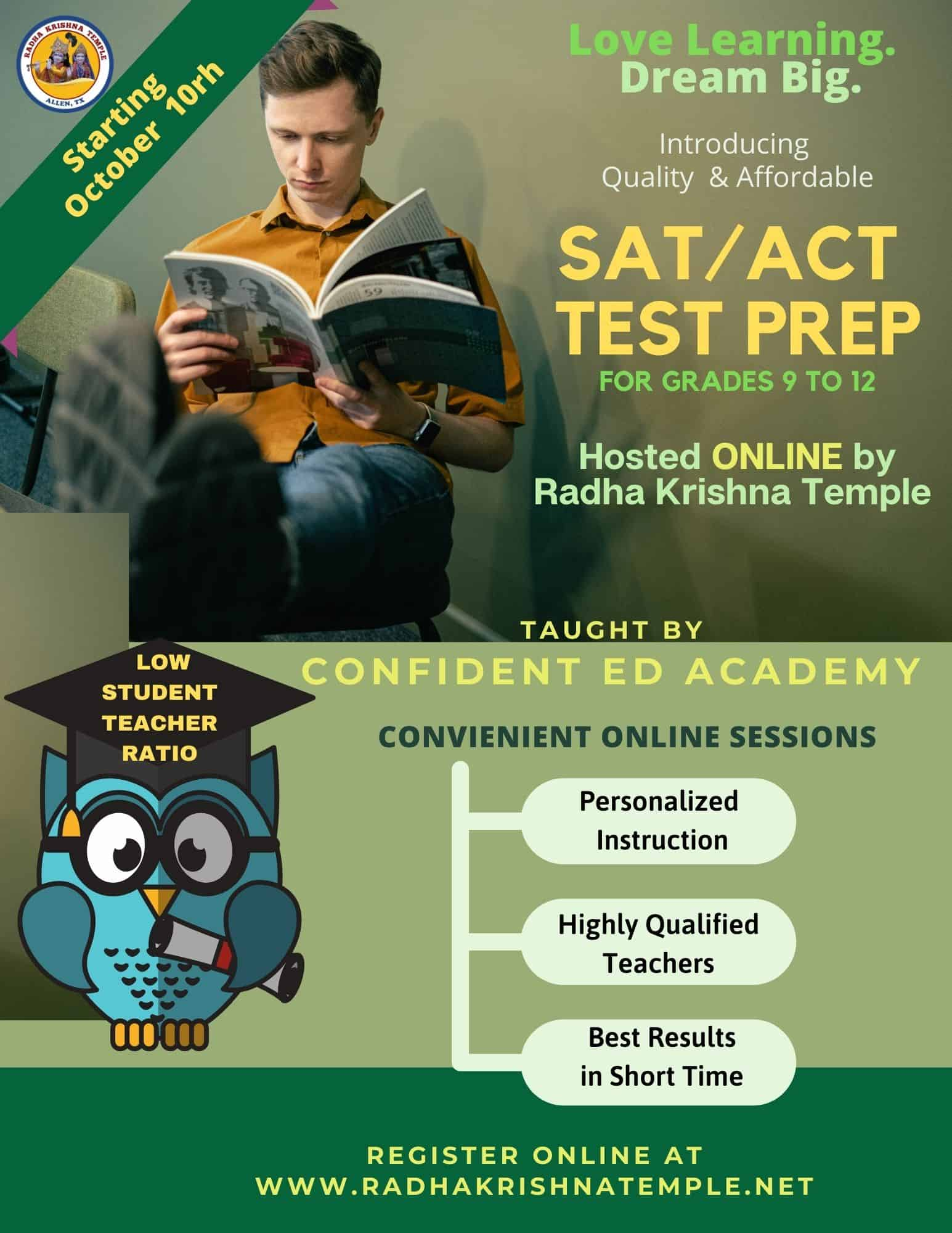 A boy studying with text ACT SAT MATH Prep