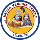 Circle with text Radha Krishna Temple and picture of Krishna and Radha