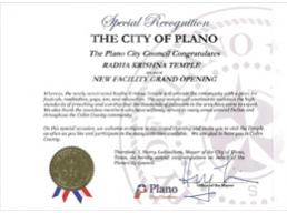 Special Recognition by the Plano City Council